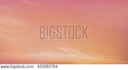 Sunrise In Morning With Orange,yellow,pink Sky,dramatic Twilight Landscape With Sunset In Evening,ve