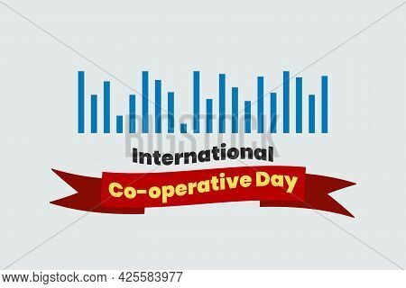 Vector Illustration Of International Co-operative Day Typography With Co-operate Symbol.