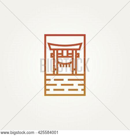 Torri Gate Landmark Minimalist Line Art Logo Template Vector Illustration Design. Simple Modern Arch