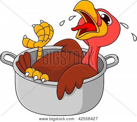 Vector illustration of crying turkey in the saucepan poster