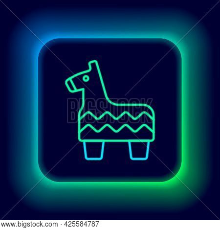 Glowing Neon Line Pinata Icon Isolated On Black Background. Mexican Traditional Birthday Toy. Colorf