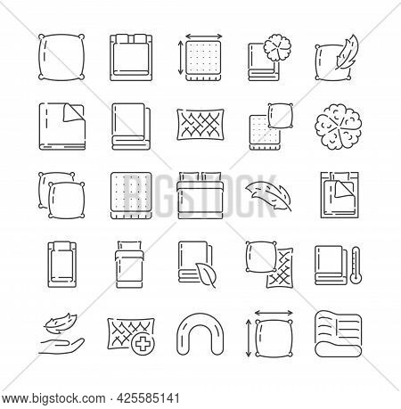 Large Set Of Icons Related To Household Linens. Bedlinen, Towels, Cushions, Pillows, Eco-friendly Co