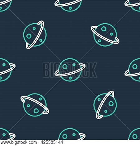 Line Planet Saturn With Planetary Ring System Icon Isolated Seamless Pattern On Black Background. Ve