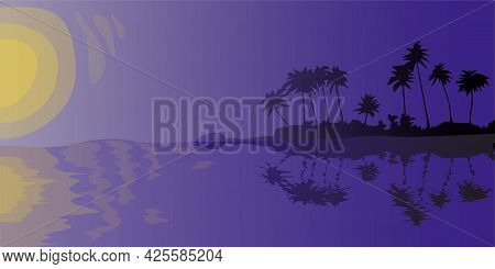 Sunset Or Sunrise On Tropical Island Abstract Background Of Night Seashore Palm Tree Silhouettes Wit