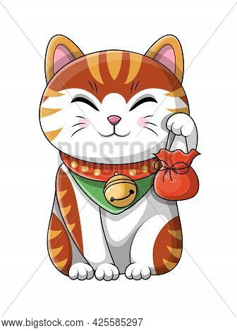 Cute Adorable Cartoon Japanese Lucky Cat Wearing A Collar With Bell Around Its Neck Holding Up A Lit