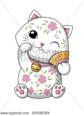 Adorable Cute Feminine Little Japanese Lucky Kitty Or Cat With Pink Floral Design Holding A Fan And