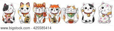 Set Of Adorable Little Cartoon Japanese Lucky Cats Maneki Neko Holding Coban Coin With Kanji Meaning