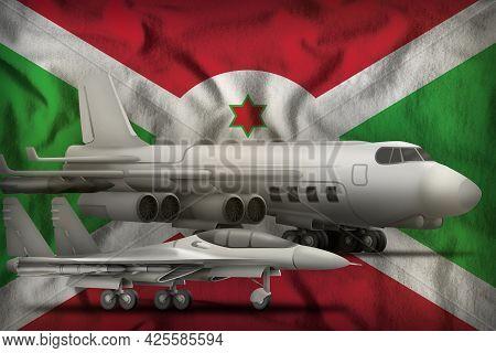 Air Forces On The Burundi Flag Background. Burundi Air Forces Concept. 3d Illustration