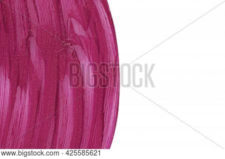 Marsala Beauty Product Sample Closeup. Purple Cosmetics Smear Pattern Isolated On White. Liquid Lips