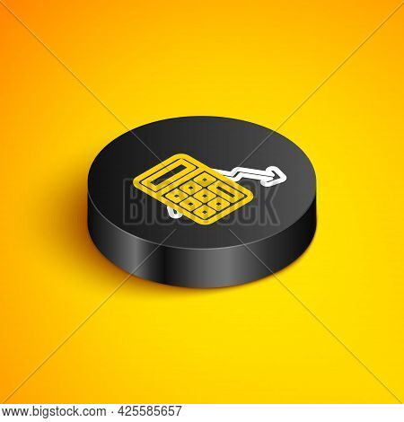 Isometric Line Calculation Of Expenses Icon Isolated On Yellow Background. Black Circle Button. Vect