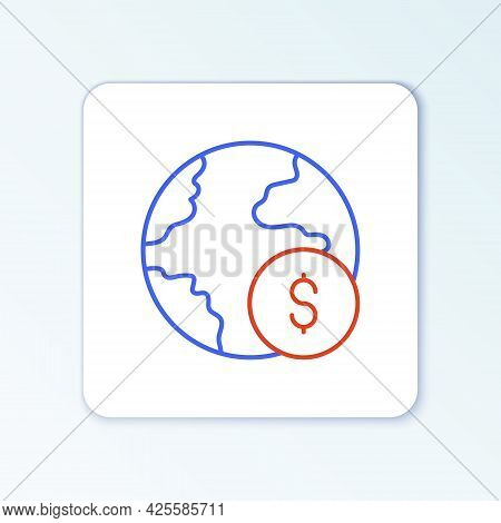 Line Global Economic Crisis Icon Isolated On White Background. World Finance Crisis. Colorful Outlin