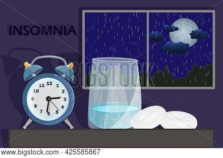 Sleep Disorder Or Insomnia Concept. Clock, Glass With Water And Pill On Dark Blue Sky Background Wit
