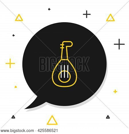Line Musical Instrument Lute Icon Isolated On White Background. Arabic, Oriental, Greek Music Instru