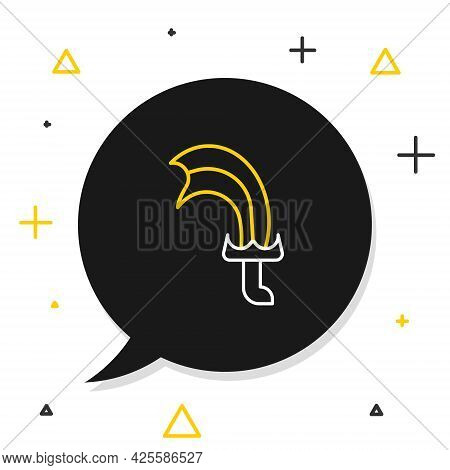 Line Sword For Game Icon Isolated On White Background. Colorful Outline Concept. Vector
