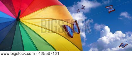 Summer Concept. Good Weather Concept. Colors Of Rainbow. Colorful Umbrella Rainbow Colors On Blue Sk