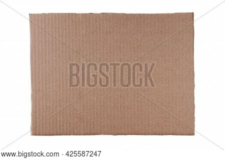 Rectangular Piece Of Cardboard Isolated On White.
