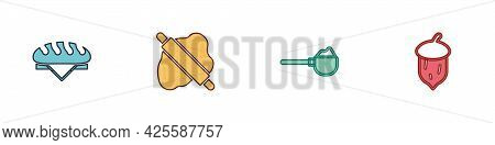 Set Bread Loaf, Rolling Pin On Dough, Measuring Cup With Flour And Acorn, Oak Nut, Seed Icon. Vector