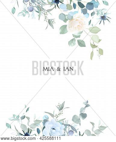 Creamy Beige Rose, Anemone, Dusty Blue Thistles, Eucalyptus, Greenery, Juniper, Brunia Vector Design