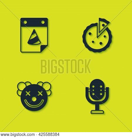 Set Calendar Party, Microphone, Clown Head And Homemade Pie Icon. Vector