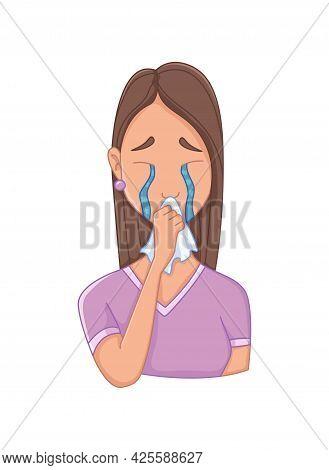 Women With Stress Symptom - Depression. Emotional Or Mental Health Problem, Stress. Cartoon Characte