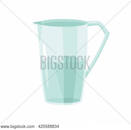 Water In Glass. Ingredient And Cookware For Making Dough, Cookie Or Croissant. Flat Cartoon Vector I