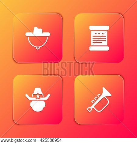 Set Western Cowboy Hat, Declaration Of Independence, Sheriff And Trumpet Icon. Vector