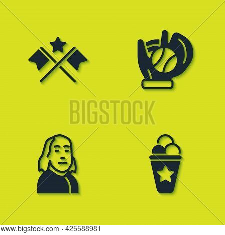 Set American Flag, Ice Cream In Waffle Cone, Benjamin Franklin And Baseball Glove With Ball Icon. Ve