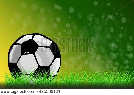 Soccer Ball On Green Grass Background. Football Concept. Soccer Poster Or Card Template With Copy Sp