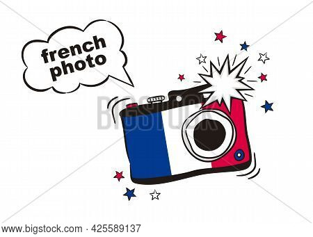 Photo Camera With Flash In The Colors Of The France National Flag. Cartoon Object For July 14th In F