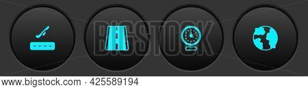 Set Plane Takeoff, Airport Runway, Clock And Worldwide Icon. Vector