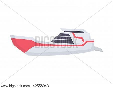 Water Speedboat. Ship Boat Side View Isolated On White Background. Fast Commercial Ship, For Ocean W