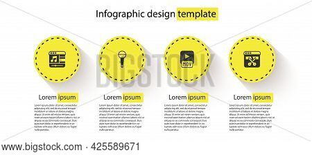 Set Music Player, Microphone, Mov File And Video Recorder Or Editor. Business Infographic Template.