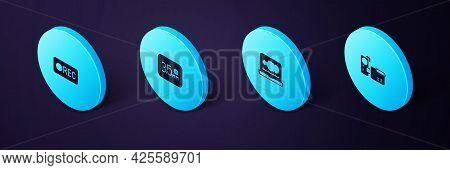 Set Isometric Cinema Camera, Sound Or Audio Recorder, Audio Jack And Record Button Icon. Vector