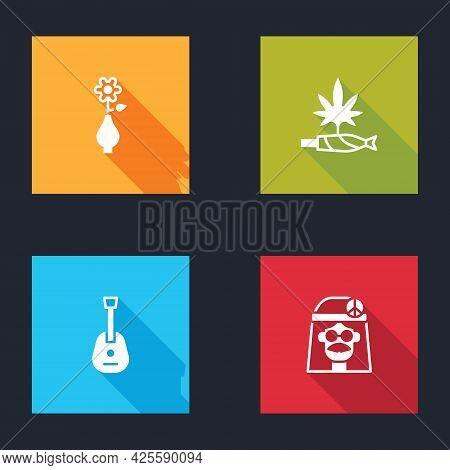 Set Flower In Vase, Marijuana Joint, Spliff, Guitar And Hippie Girl Icon. Vector