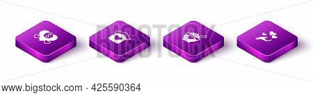 Set Isometric Donation And Charity, Shelter For Homeless, Food And Heart In Hand Icon. Vector