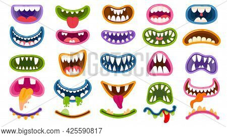 Cartoon Monster Mouths. Scary And Funny Mouth With Teeth And Tongue. Halloween Masks, Monsters Joker