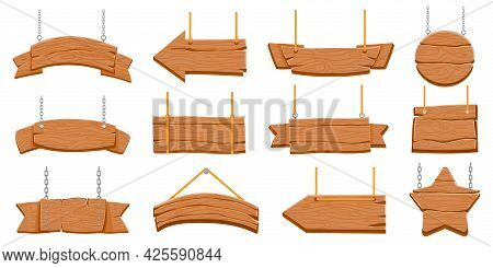 Wood Signboards Hanging On Rope. Wooden Blank Banners And Arrow Signs. Round And Star Shaped Board O