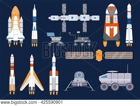 Spacecraft Technology. Satellites, Rockets, Space Station, Ships, Shuttles, Moon And Mars Rovers. Un