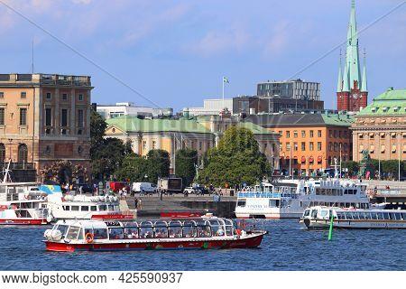 Stockholm, Sweden - August 24, 2018: Tourists Ride Tour Boats In Stockholm City, Sweden. Stockholm I