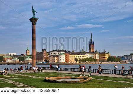 Stockholm, Sweden - August 23, 2018: People Enjoy Gamla Stan (old Town) Skyline View In Stockholm, S