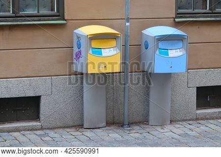 Stockholm, Sweden - August 23, 2018: Postbox In Stockholm, Sweden. Postnord Is The Merged Postal Ser