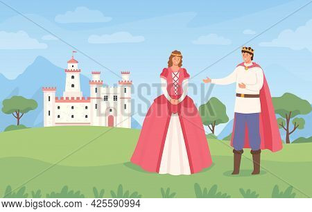 Landscape With Prince And Princess. Cartoon Fairytale Castle And Characters. Fantasy Magical Kingdom