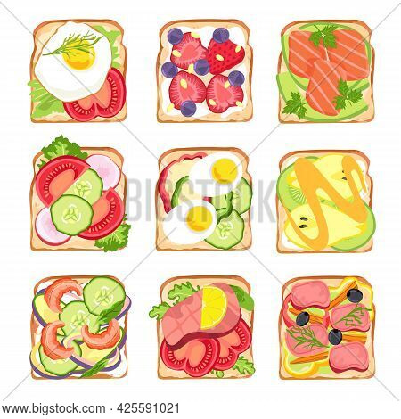 Healthy Sandwiches. Tasty Breakfast Toast Bread With Avocado And Salmon, Salad, Eggs And Tomato, Str