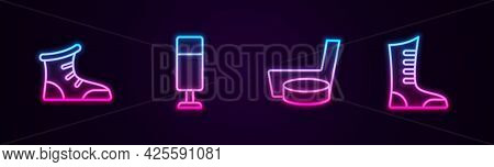 Set Line Sport Boxing Shoes, Punching Bag, Ice Hockey Stick And Puck And . Glowing Neon Icon. Vector