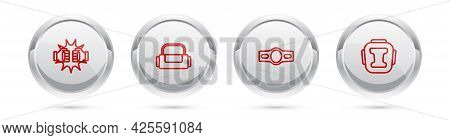 Set Line Punch In Boxing Gloves, Sport Bag, Boxing Belt And Helmet. Silver Circle Button. Vector