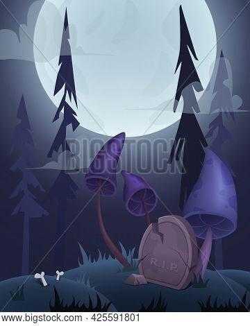 Halloween Card Background With Graveyard, Grave, Moon And Creepy Mushrooms