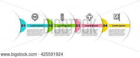 Set Line Speed Limit Traffic, Traffic Light, Roundabout Sign And Parking. Business Infographic Templ