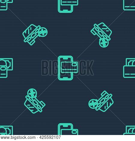 Set Line Mobile Banking, Car Leasing Percent And Credit Card On Seamless Pattern. Vector