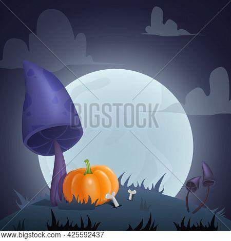 Halloween Card Background With Creepy Mushrooms, Moon And Pumpkin