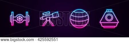 Set Line Cosmic Ship, Telescope, Planet And Space Capsule. Glowing Neon Icon. Vector